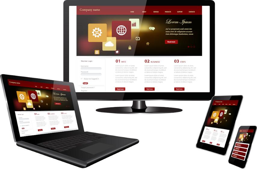 Monitor, portátil, teléfono móvil tablet mostrando una web