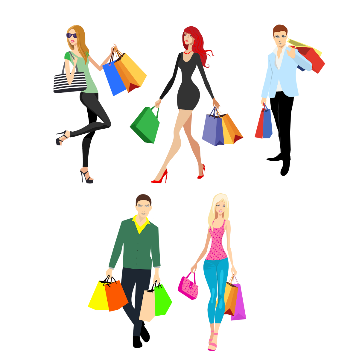 Dibujos de jovenes con bolsas de la compra de moda