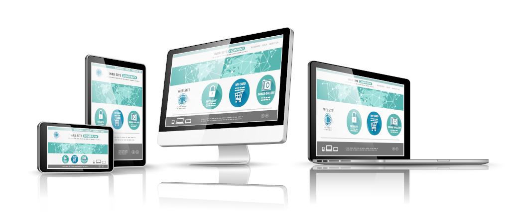 Tablet, monitor, portátil, teléfono móvil mostrando una web