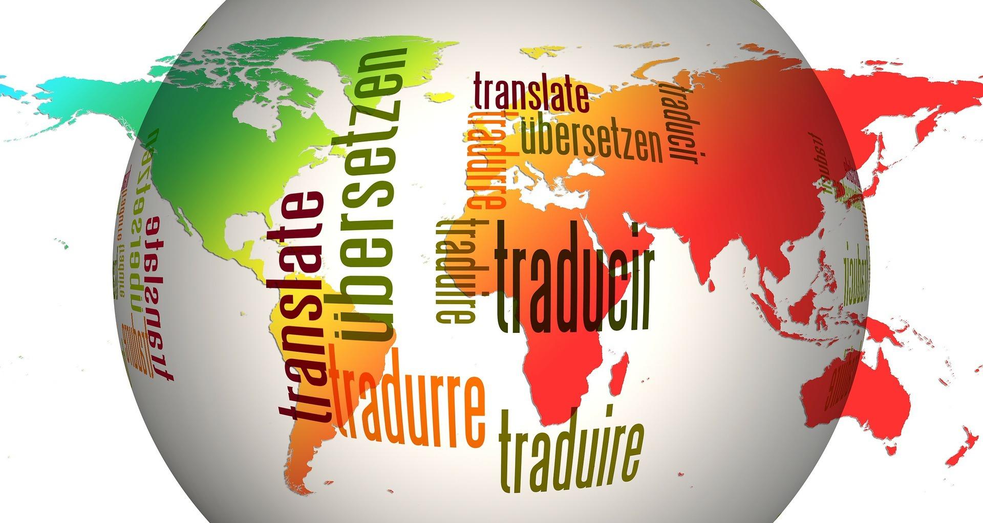 Bola de la tierra con traducciones